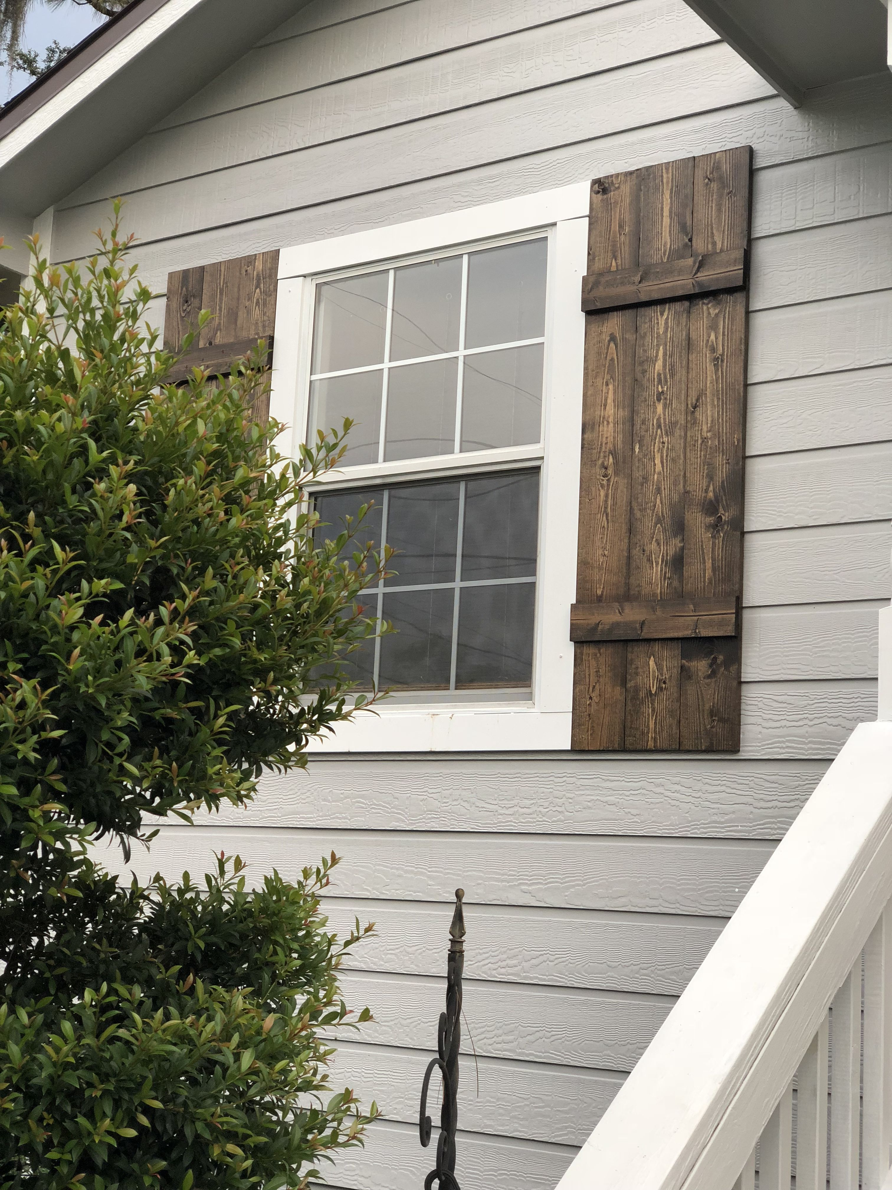 Gray House With Diy Wood Board And Batten Shutters House Paint Exterior Gray House Exterior Wood Shutters Exterior