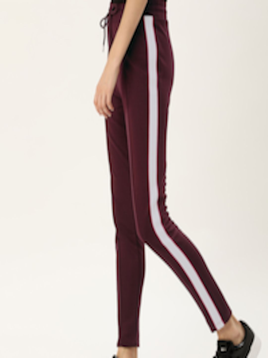 Buy forever 21 women burgundy solid straight fit track
