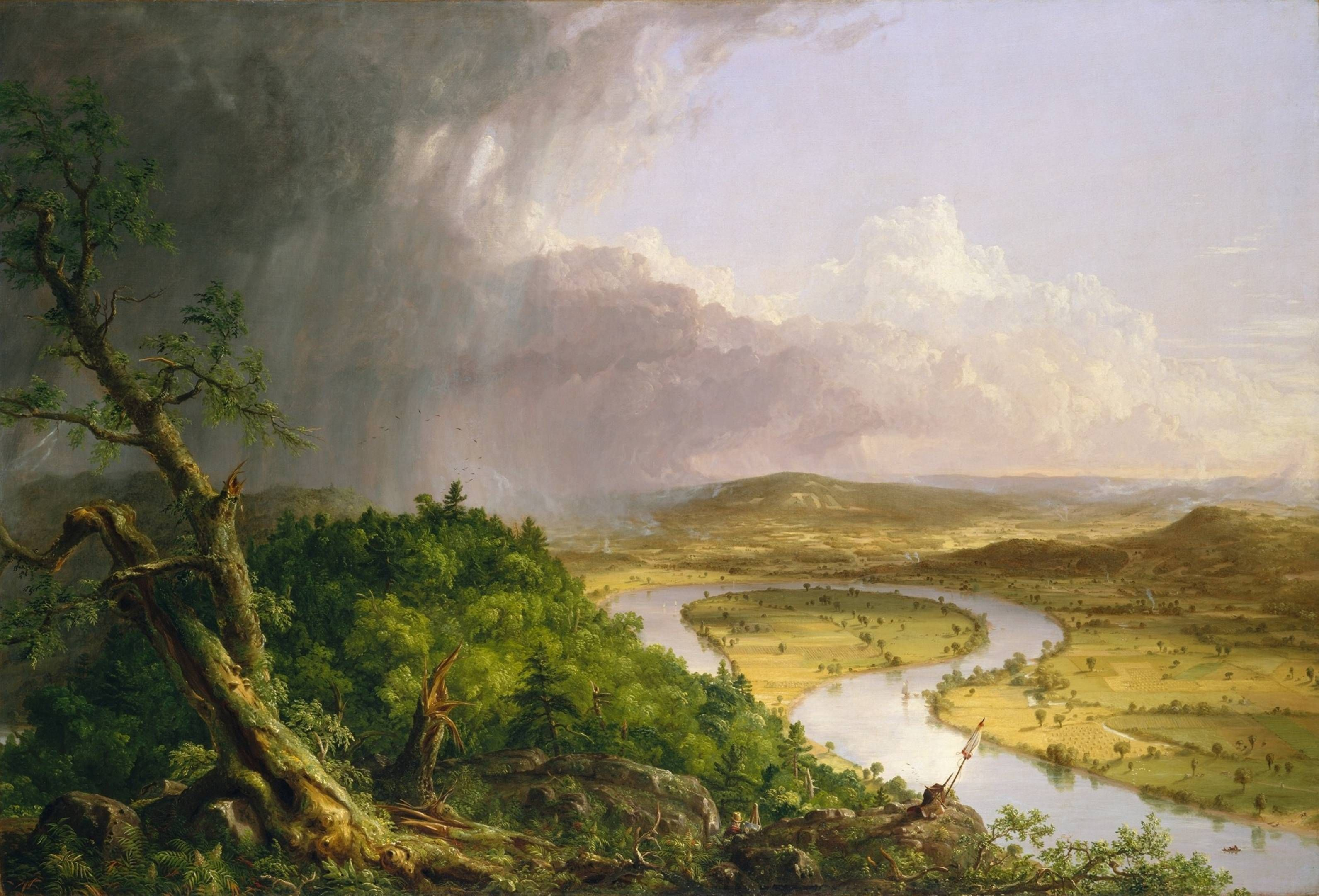 The Oxbow- Thomas Cole Oh how I love that absolute darkness at the left, and the way the clouds seem to loop around.