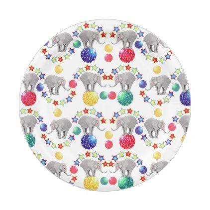 Elephant Stars Circus Paper Plate - shower gifts diy customize creative | shower ideas cyo | Pinterest  sc 1 st  Pinterest & Elephant Stars Circus Paper Plate - shower gifts diy customize ...