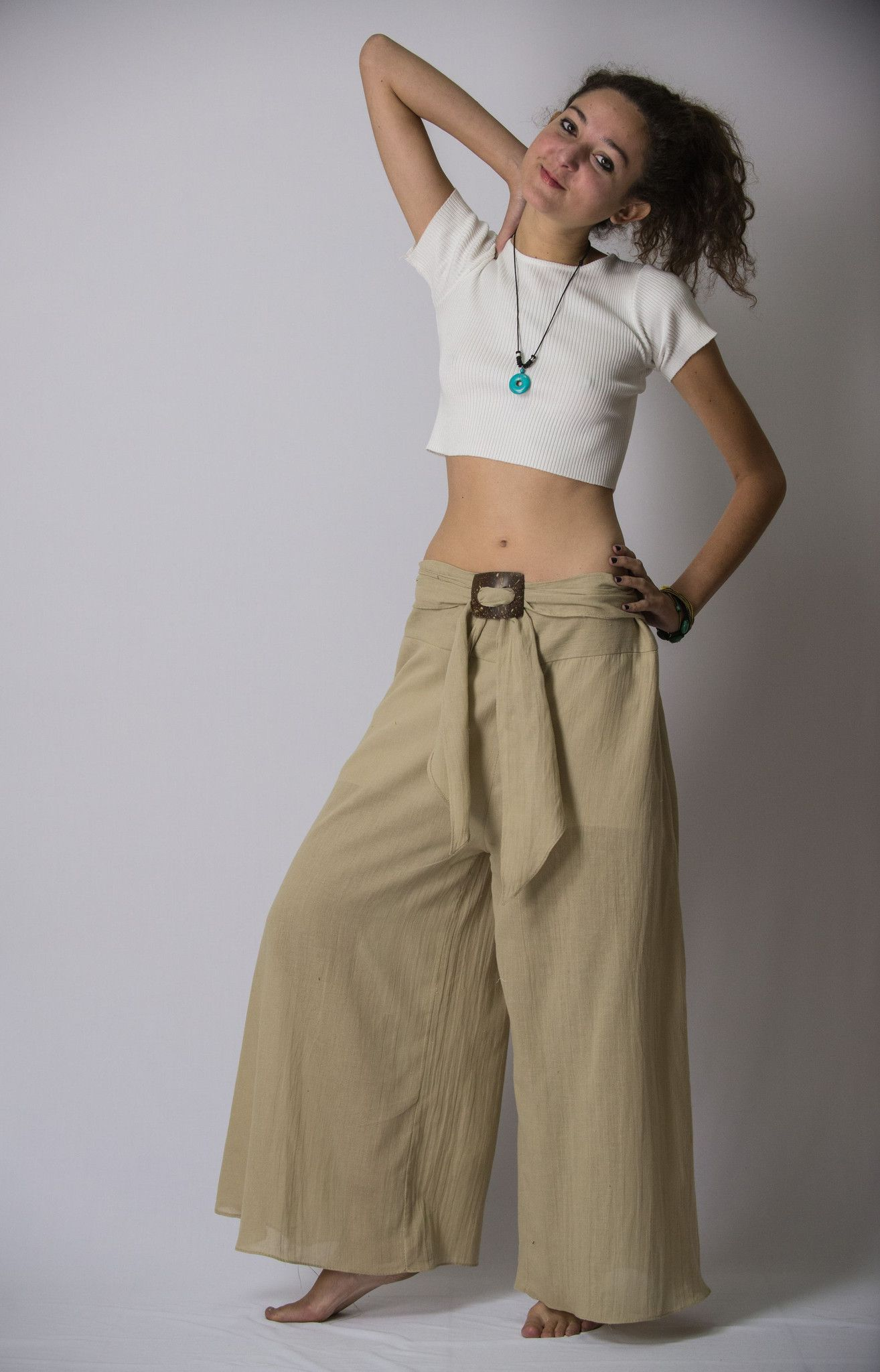 87f400ba9ad Super soft organic cotton wide-leg Thai style palazzo pants with elastic  back waistband.