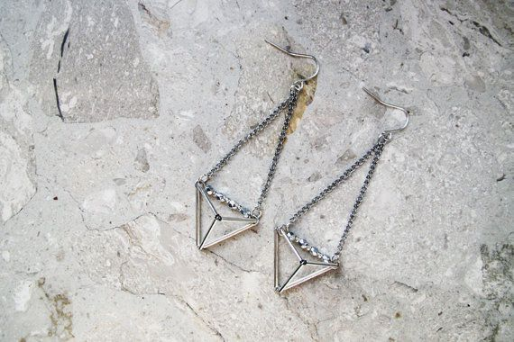 Geometric triangle pyramid metallic dangle earrings by AlmostDone