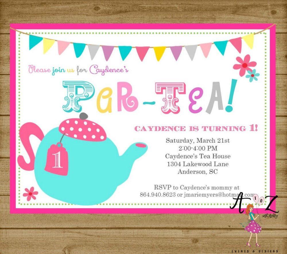 Tea Party Birthday Invitation, Tea Party Invitation, Tea Par-tea ...