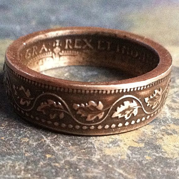 Canadian Coin Ring made from Large Canadian Cent Coin with ivy