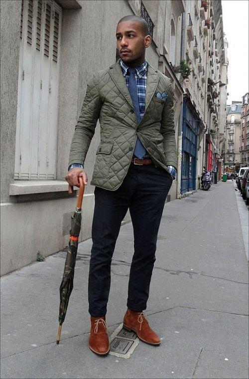 Khaki quilted blazer, Blue checked shirt, Camo print umbrella ...