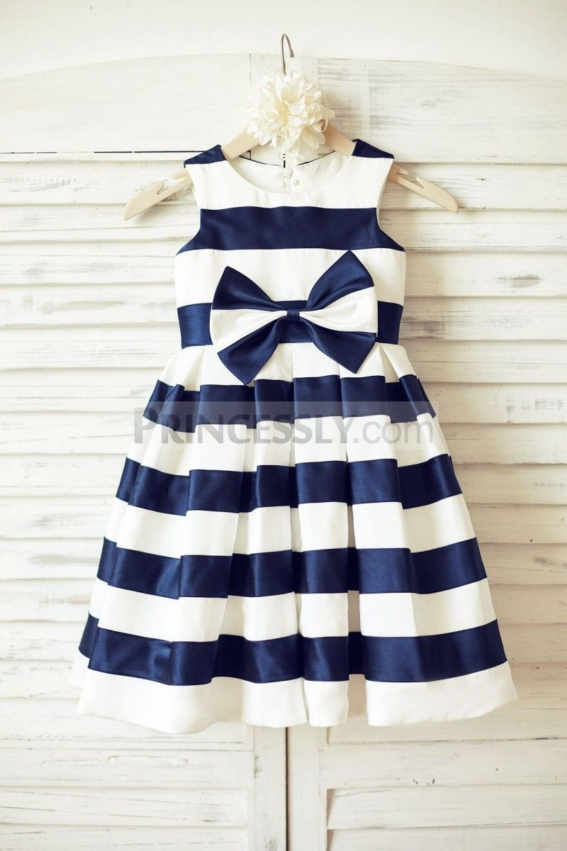 Ivory Navy Blue Stripes Satin Flower Girl Dress With Bow Pinterest