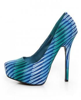 Shoe Republic - LA Cheker Blue Glitter Print Platform Pumps ~ $37.00