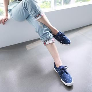 Buy 'rico – Polka Dot Canvas Sneakers' with Free International Shipping at YesStyle.com. Browse and shop for thousands of Asian fashion items from Taiwan and more!