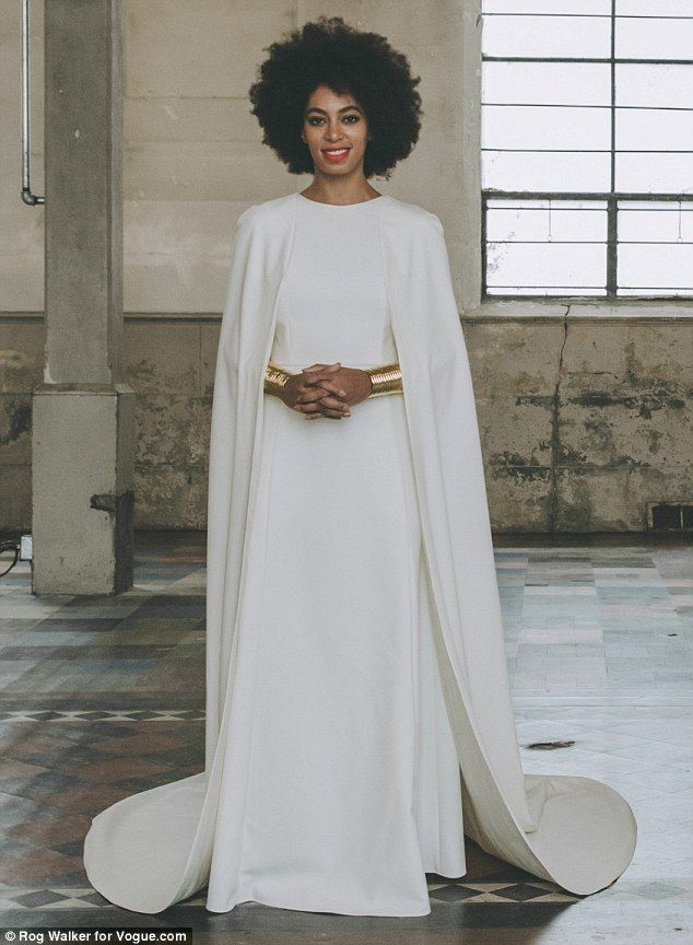 Solange knowles 39 official wedding pictures kenzo gowns for Wedding dress with a cape