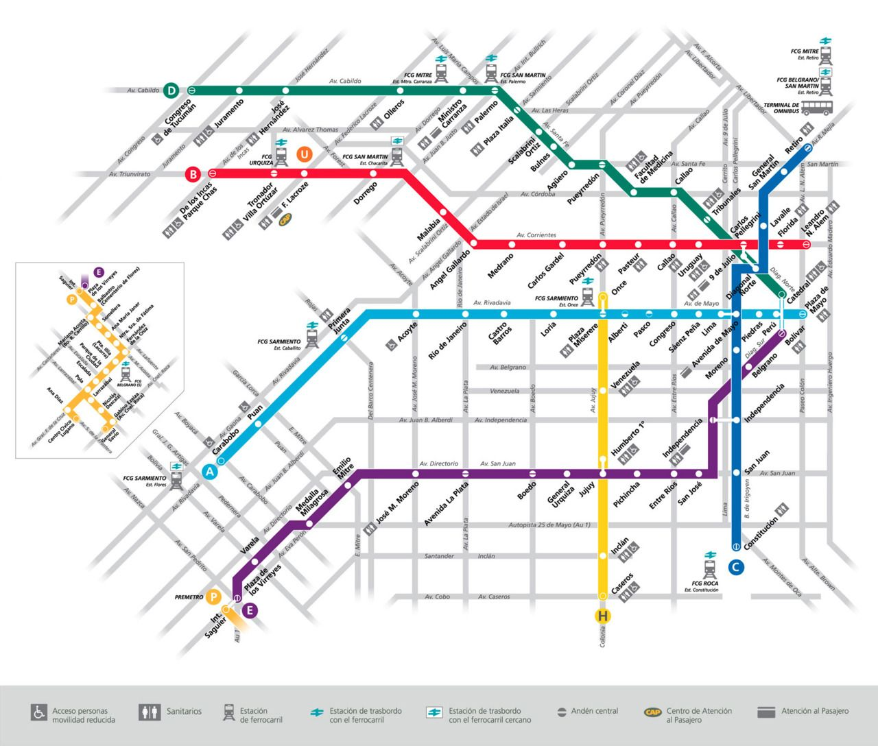 Argentina Subway Map.Official Map Subte Buenos Aires Argentina Transit Maps Subway