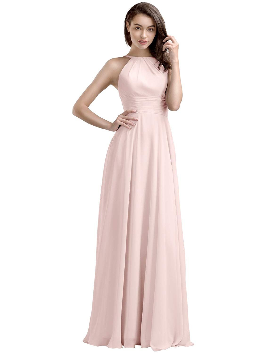 79a4865c1d0 AW Bridal Women s Long Bridesmaid Dresses Vintage Prom Dresses Jewel Neck Evening  Dresses Chiffon at Amazon