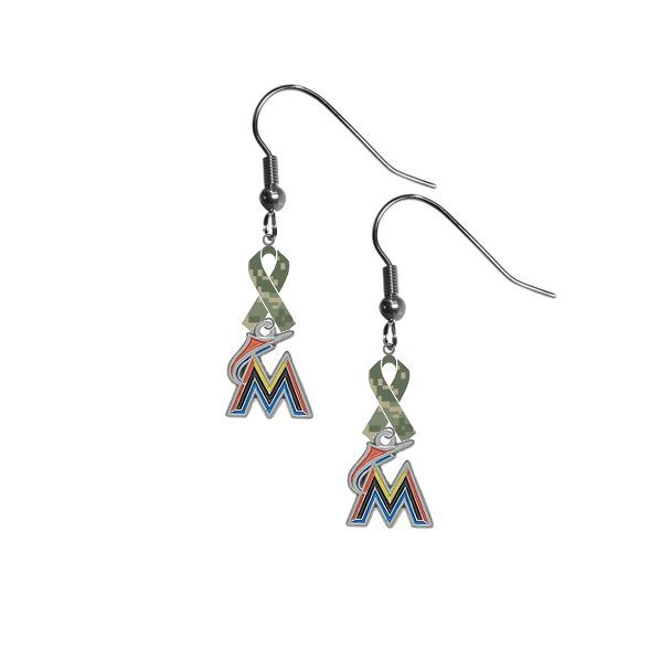 "Miami Marlins MLB ""Salute to Service"" Camouflage Camo Ribbon Dangle Earrings"