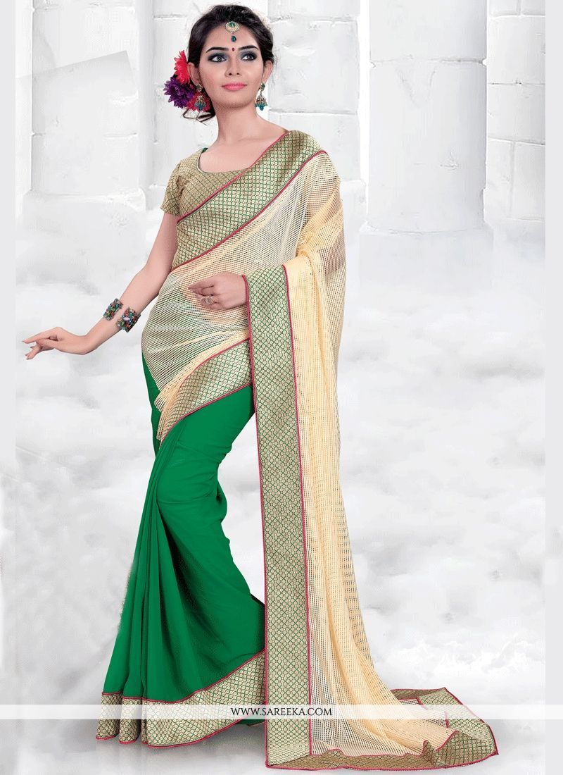 Saree for freshers party in college tempting beige and green designer half n half saree  half saree and