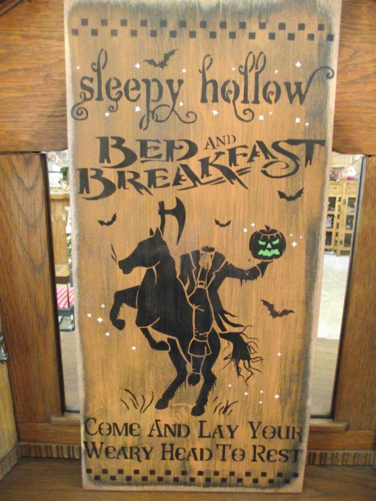 Primitive Wood Halloween sign  SLEEPY HOLLOW BED /& BREAKFAST