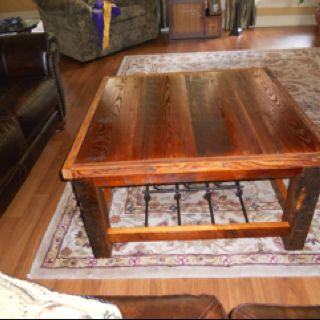Coffee Table That I Made From An Antique Pine Staircase And Beams Taken  From A Demolished · Burglar BarsReclaimed Wood ...