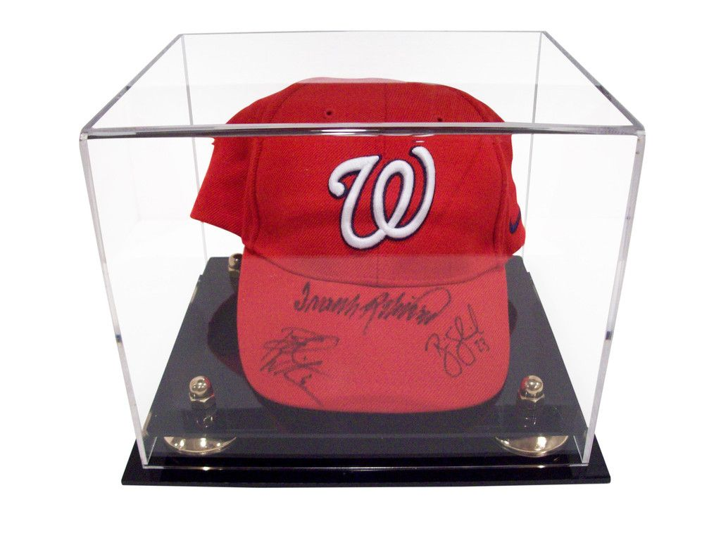 1d075463ca7 The BCW Deluxe Acrylic Cap Hat Display Case features a black base with gold  risers