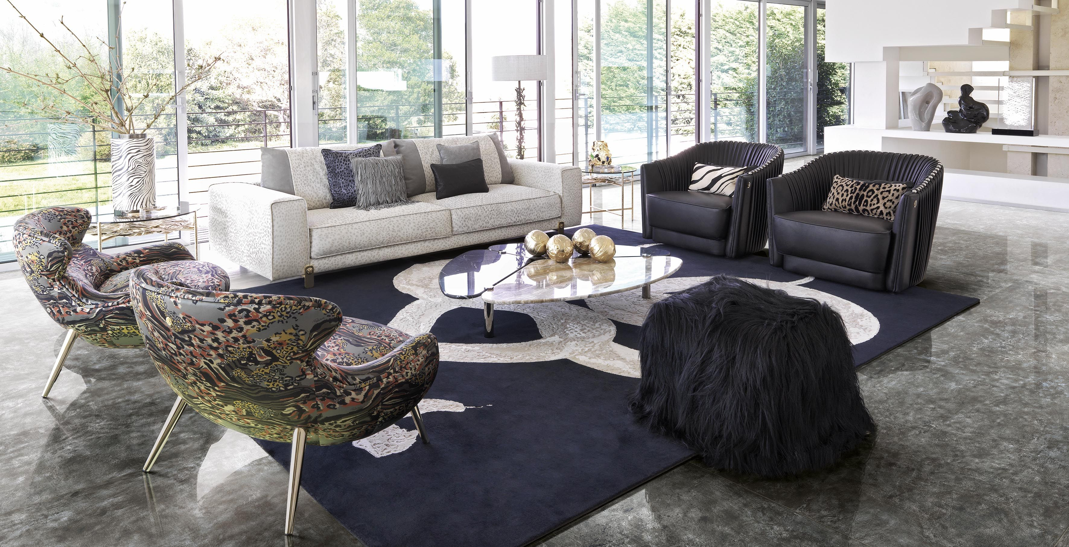 Living Room Featuring All Roberto Cavalli Home Interiors Furniture