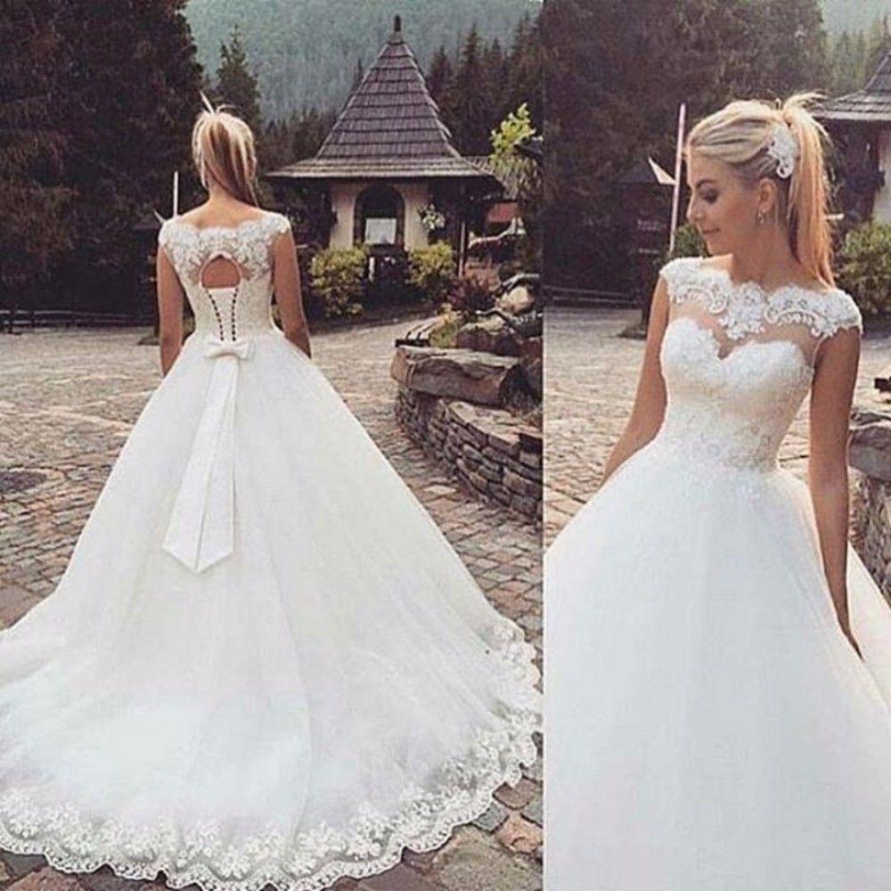 8e124dd988451 129.99 USD New Fashion White/ivory A-Line Lace Wedding dress Bridal Gown  Trai custom size