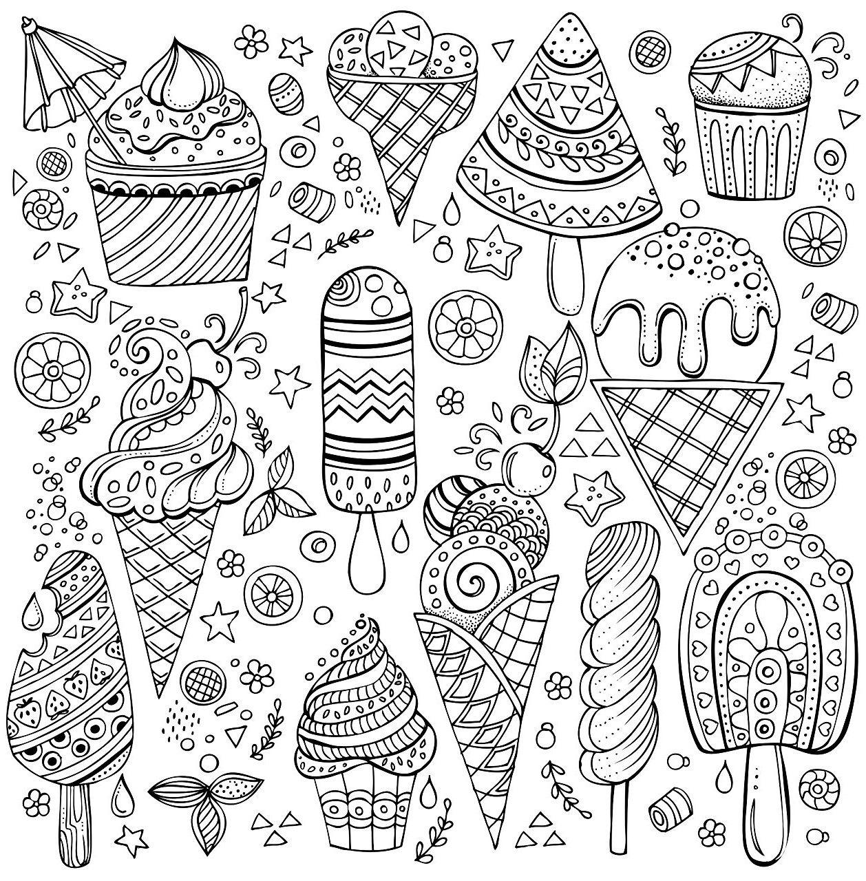 раскраски сладости мороженое рожок эскимо на