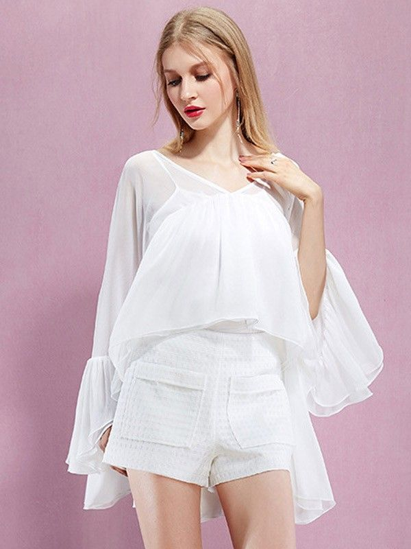 White Long Sleeved Round Neck Chiffon Shirts - Dresses  $57.00