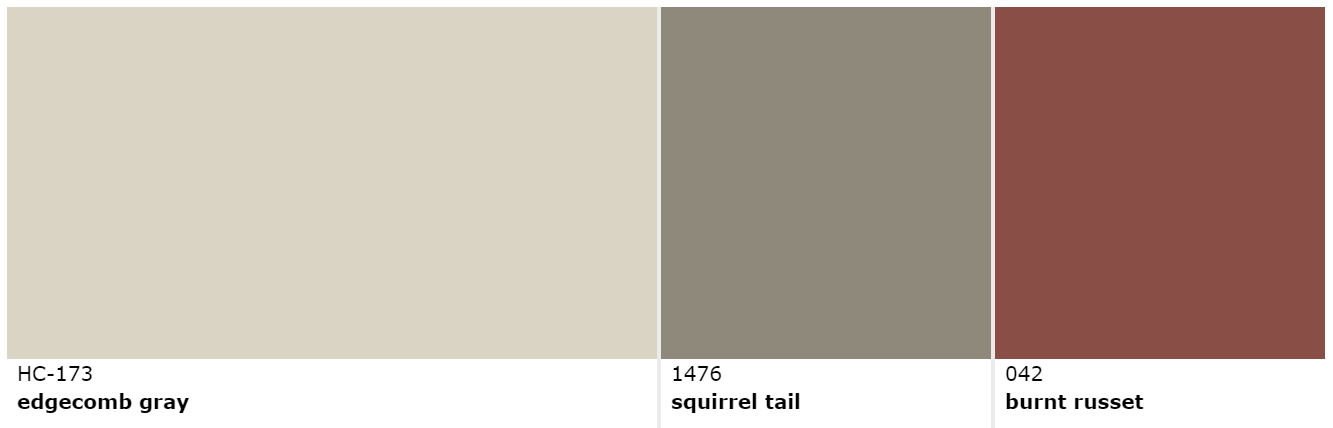 Edgecomb Gray Squirrel Tail Burnt Russet Benjamin Moore Interior Paint Schemes Exterior House Colors Outdoor Paint