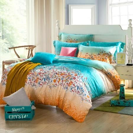 Teal Blue And Orange Tribal Floral Print Full Queen Size 100 Soft Modal Tencel Bedding Sets Orange Duvet Covers Blue Bedding Sets Orange Bedding