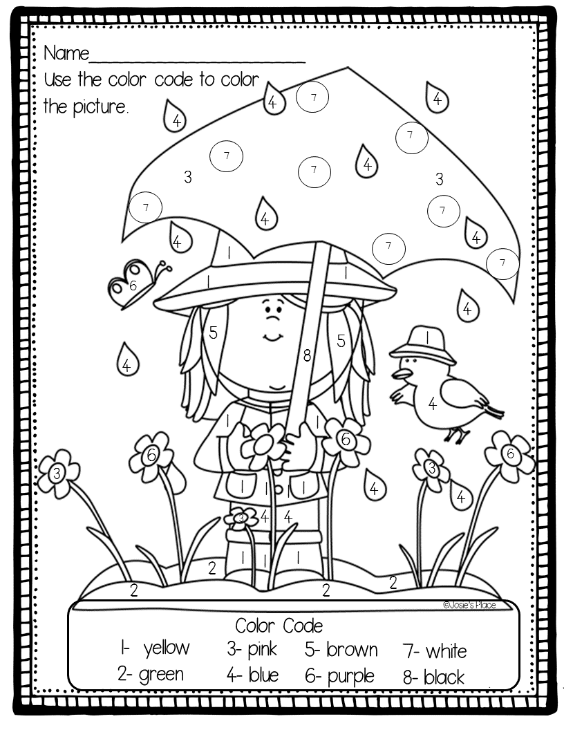 Color by Number Spring FREEBIE Spring coloring pages