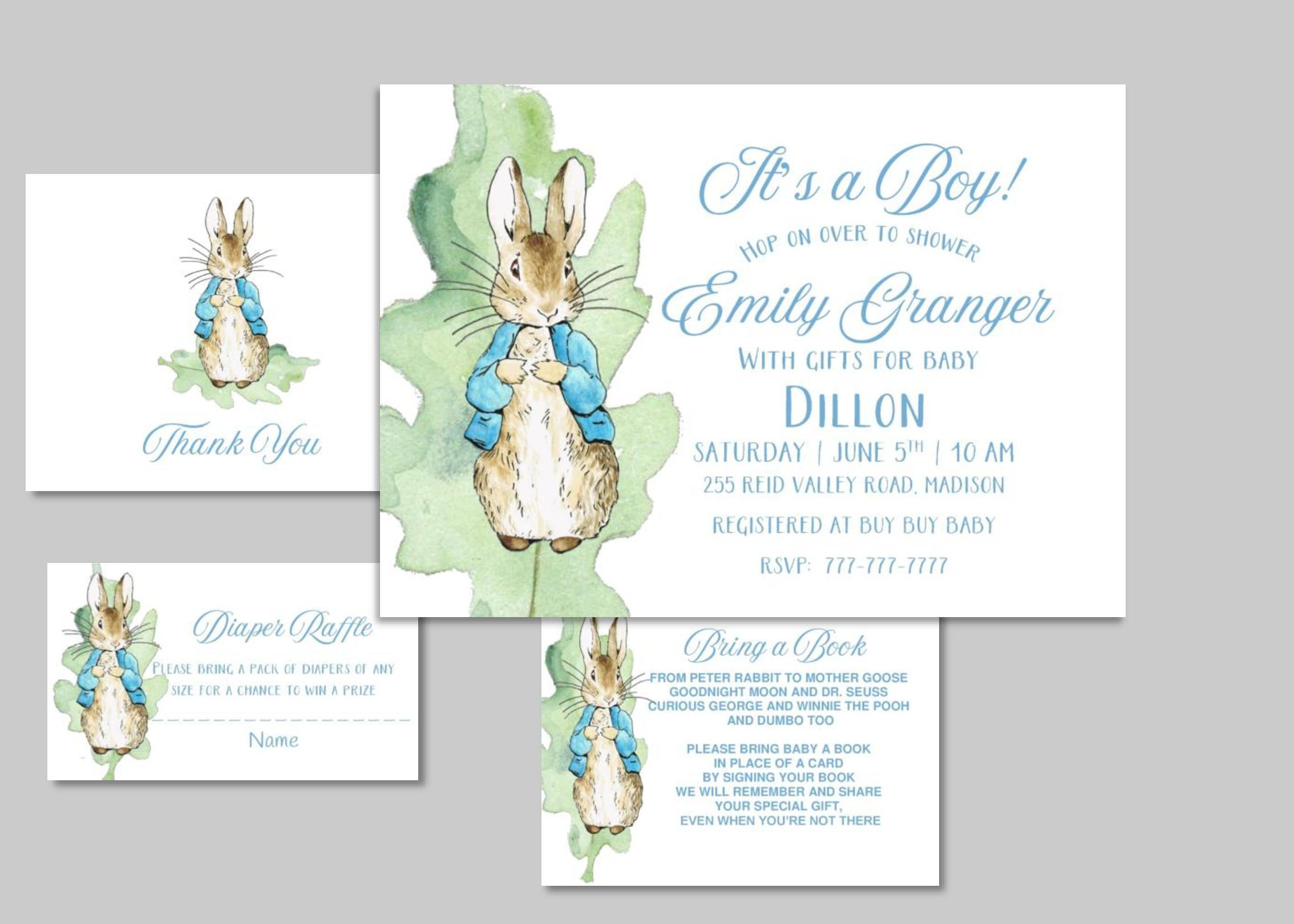 PETER RABBIT Baby Shower Invitation with Add On   Beatrix Potter by ...