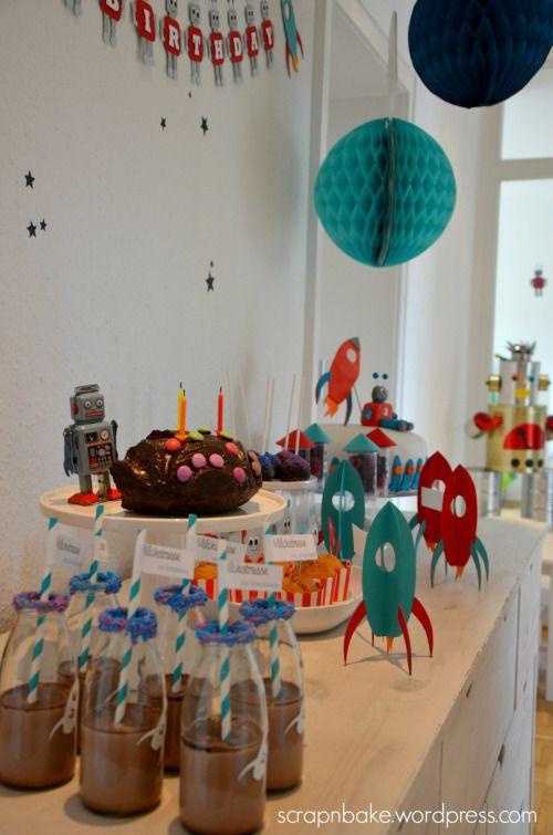 Roboter Und Raketen Mit Feuer