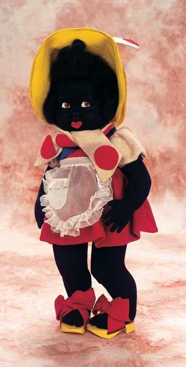 Rare Italian Felt Black Googly Character by Lenci in Superb Original Costume