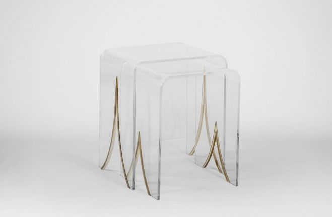 Great Magnolia Lucite Nesting Tables   Gabby SCH 151120 LG W 20.5 LG D 15.5 LG