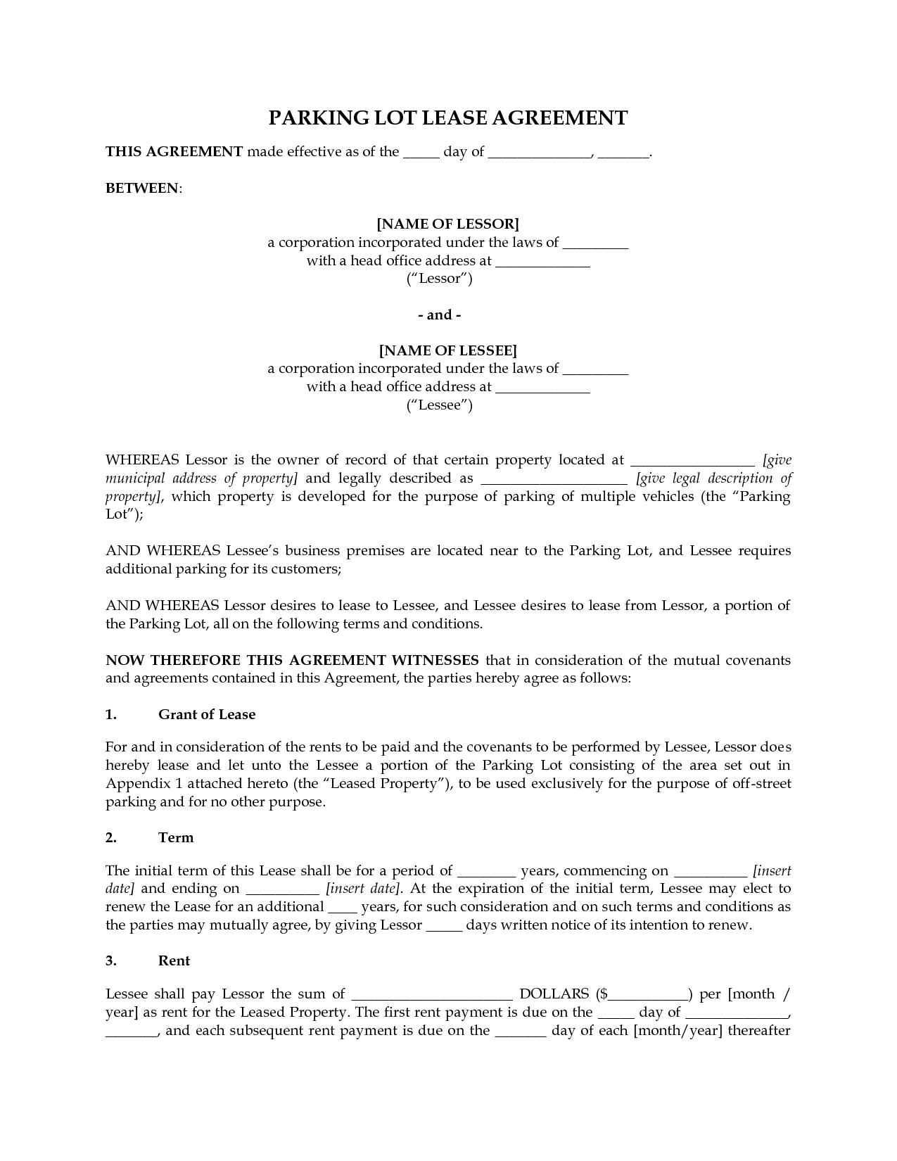 Perfect Lease Agreement Template Sample For Parking Lot