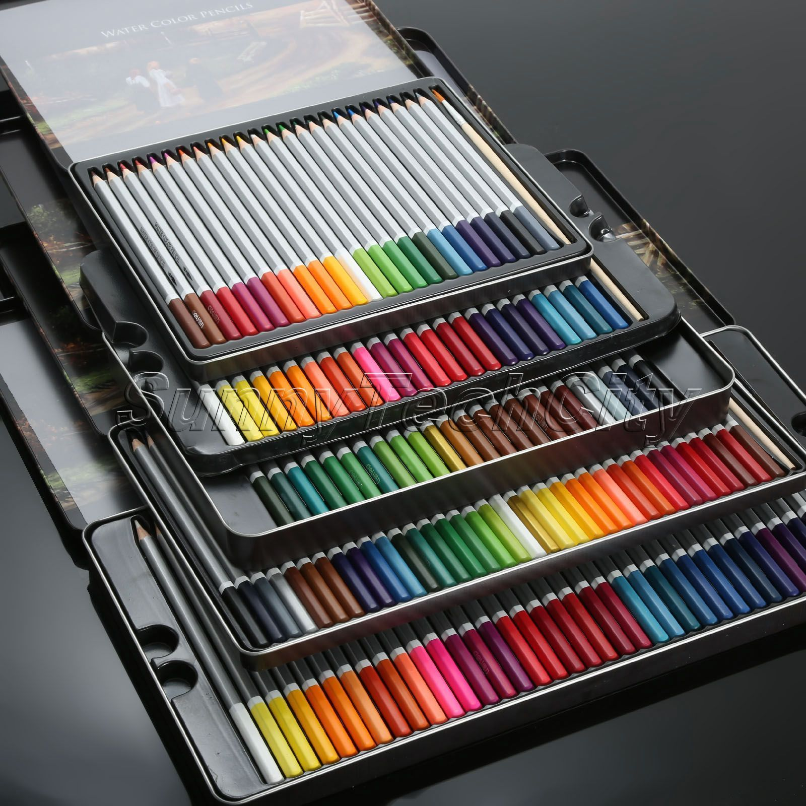 24 Watercolour Pencils /& Paint Brush Set Aquarell Soluable Multi Colours Artist