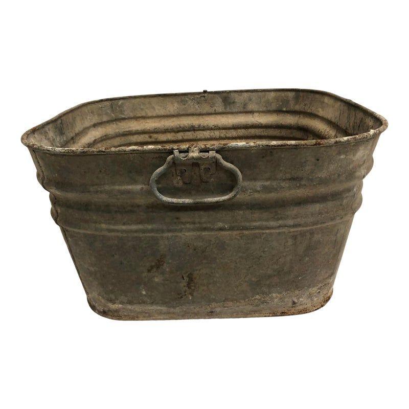 Vintage Rustic Galvanized Metal Square Wash Tub In 2020 Galvanized Metal Wash Tubs Metal