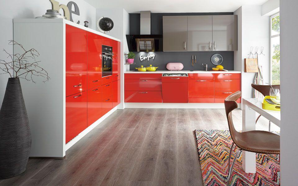 Küche L-Form Rot und Grau-Braun Hochglanz - KücheCo Küche Pinterest