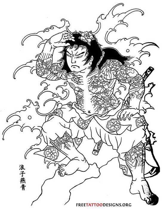 Tattoo Design Of Samurai Standing In A Wave Japanese Warrior Tattoo Japanese Tattoo Samurai Drawing