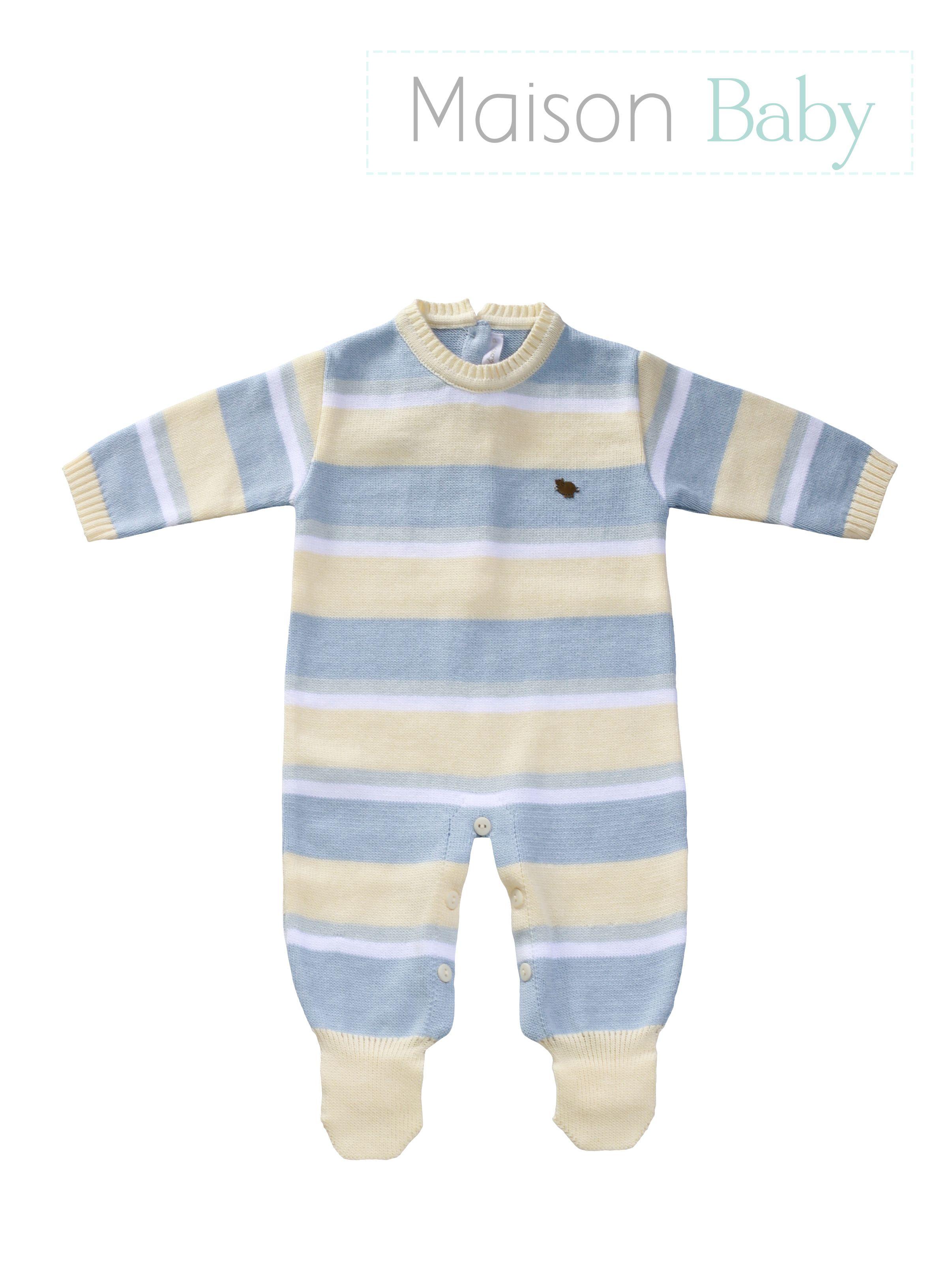 2685c2816 Macacão de tricot para menino recém nascido  macacaodetricot