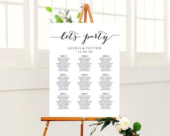 LetS Party Wedding Seating Chart Template Instantly Download