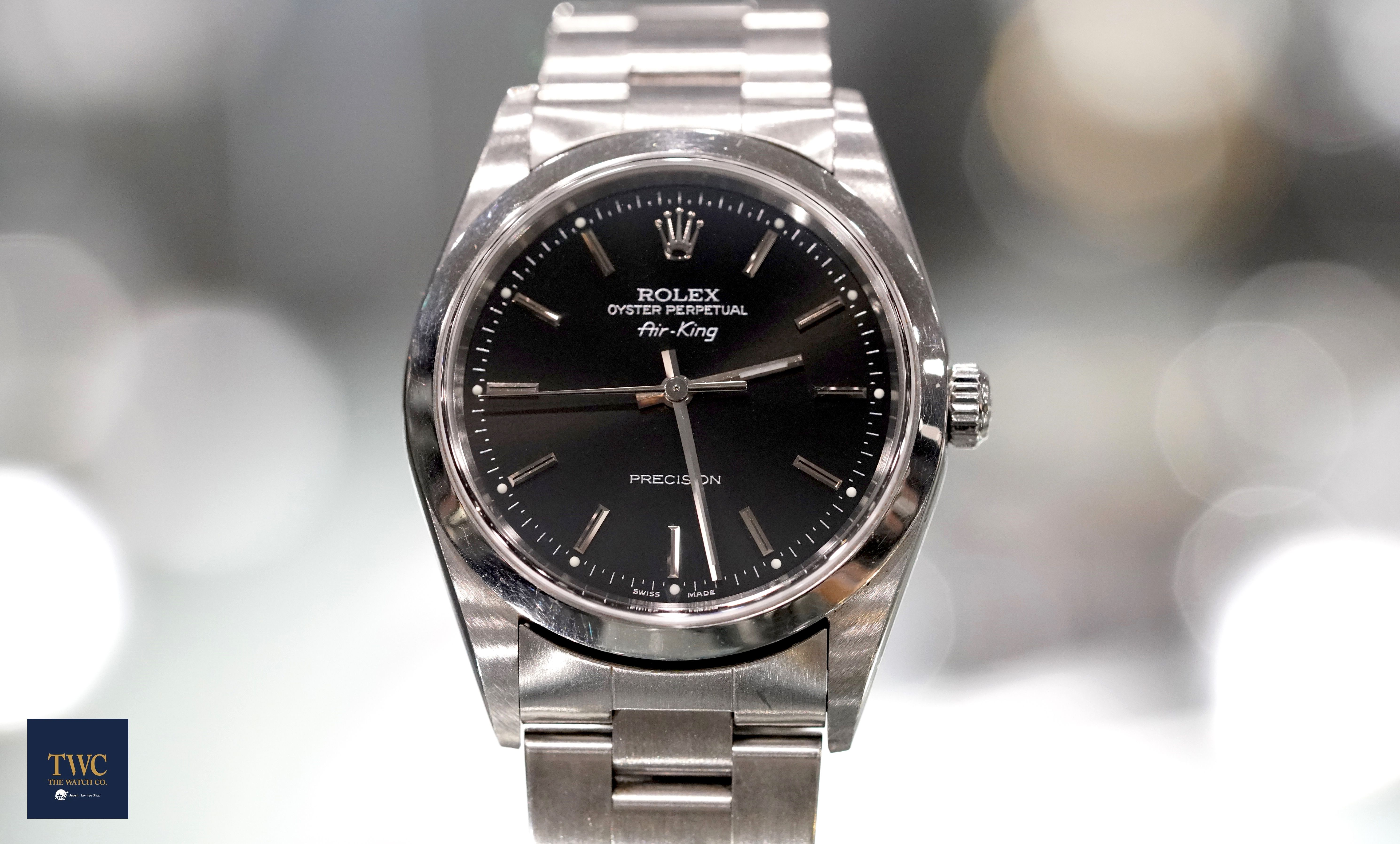 new product de310 47bbc Pre-Owned Rolex Air King Black/Steel 34mm ref. no.: 14000 ...