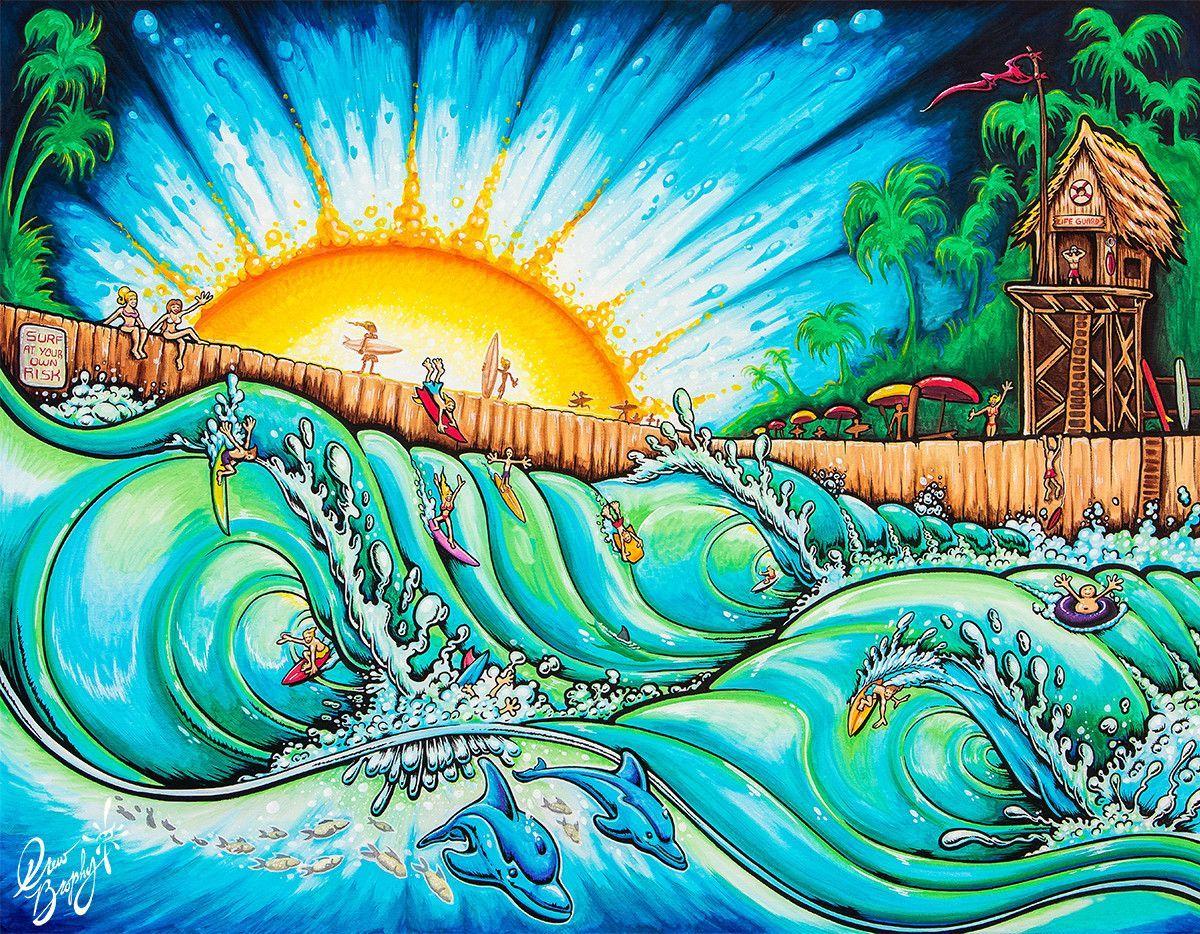 Drew Brophy Art SURF PARK SN Limited edt Canvas 14 x 18