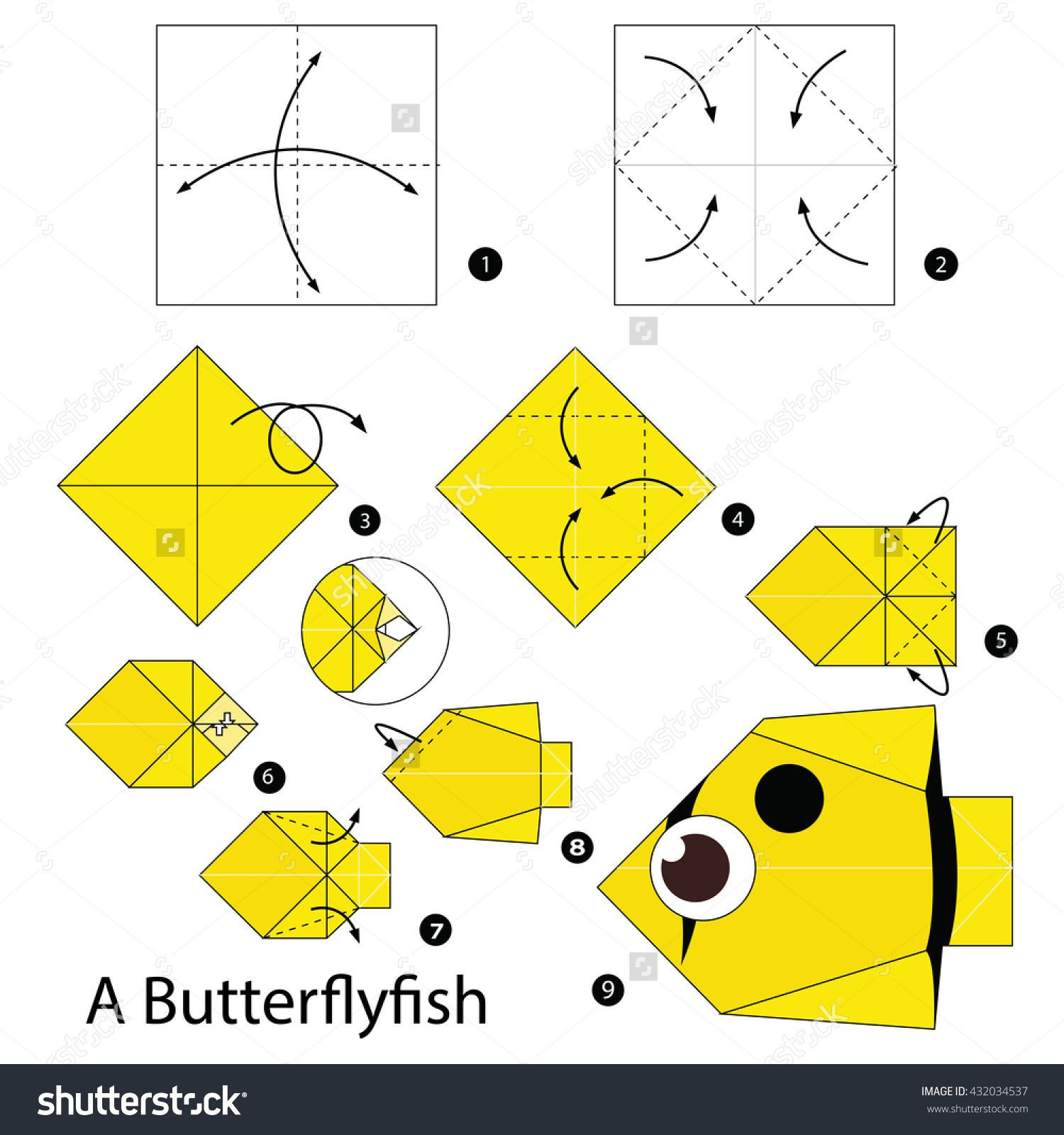 Step By Step Instructions How To Make Origami A Sea Otter Stock