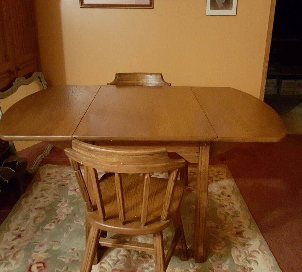 Brandt Ranch Oak Dining Table Drop Leaf With 3 Leaves 2 Chairs Mid Century In Home Garden