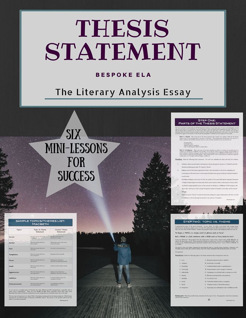 The Literary Analysis Thesis Statement SIX Minilessons