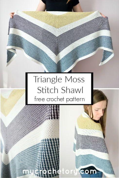 Crochet Triangle Moss Stitch Shawl using super easy moss stitch. Great beginner friendly free pattern pattern on my blog www.mycrochetory.com #crochet#crochetpattern #freepattern #shawl#crochetshawl #mossstitch#MyCrochetory