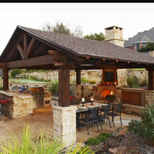 outdoor kitchen pavilion designs. like small covered space. i the outdoor kitchen under a structure. nice design for out door hot climate az. love roof structure pavilion designs