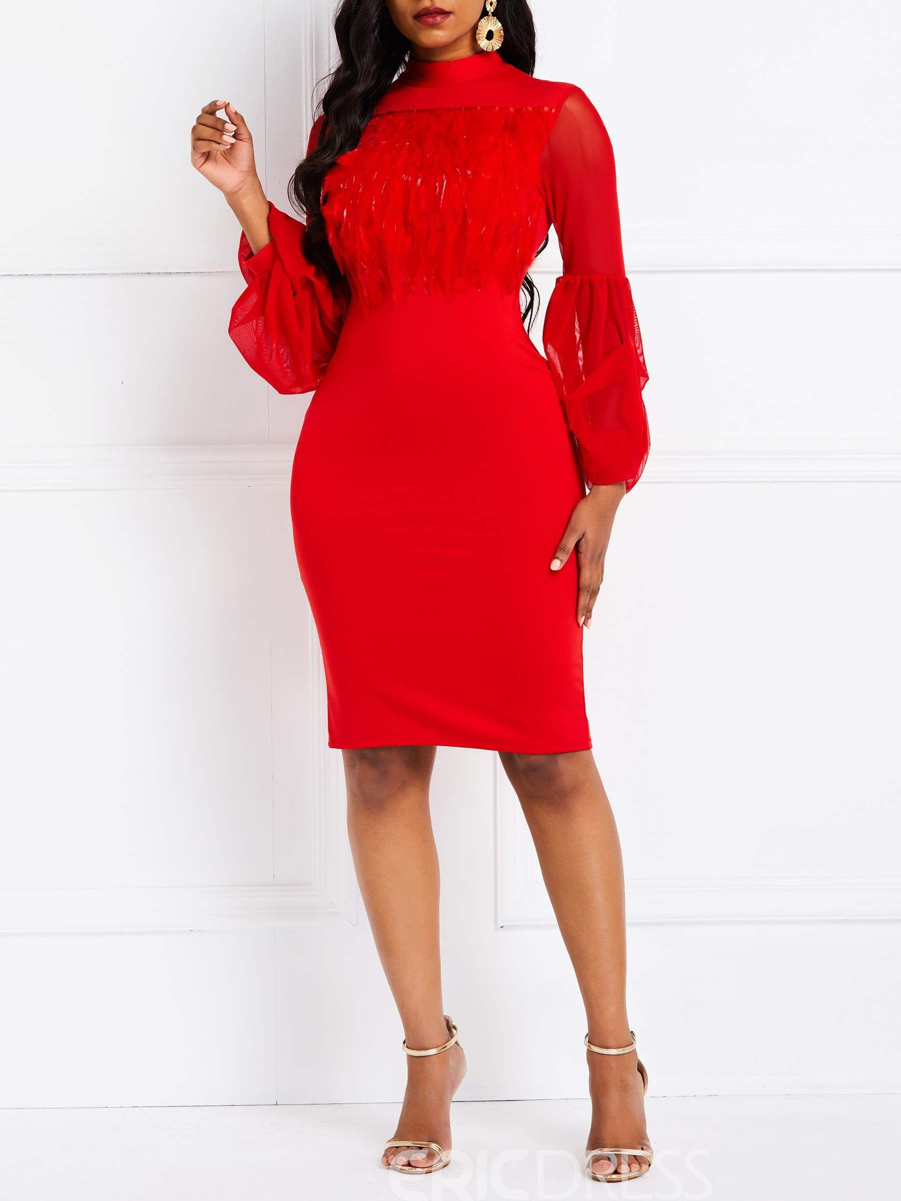 Ericdress See Through Long Sleeve Knee Length Lantern Sleeve Red Dress Red Dress Sleeves Bodycon Dress Women Bodycon Dress [ 2400 x 1800 Pixel ]