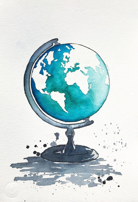 Globe art world map painting kids room decor map art print original world map watercolor painting globe illustration travel illustrator modern wall art gumiabroncs Gallery