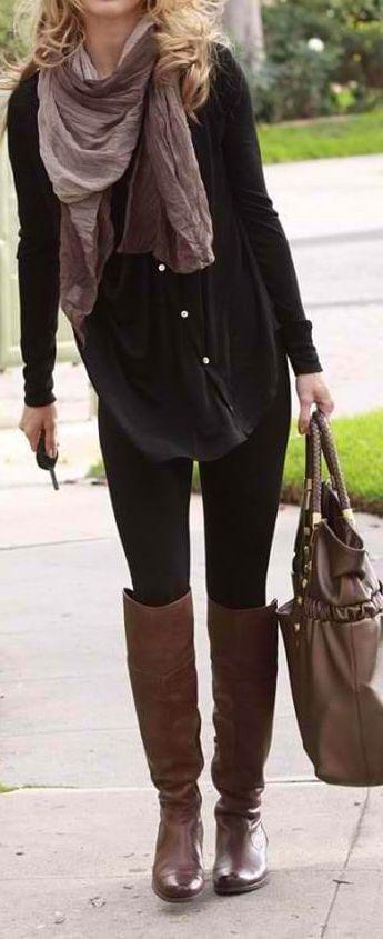 Brune støvler forslag - vælg leo tørklæde
