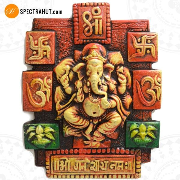 Terracotta Home Decor Ganpati Wall Hanging Terracotta Indian