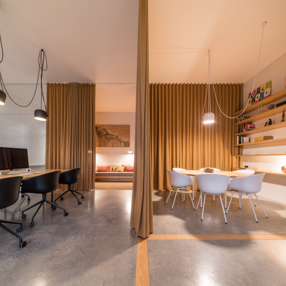 """Dining Room Curtains To Create New Atmosphere In Perfect: Curtains Separate Spaces In Lisbon Offices For A """"hook-up"""